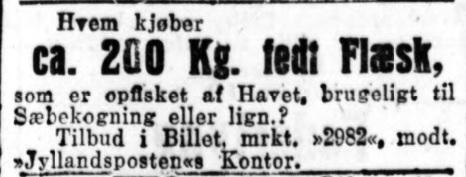 Flæskeannonce JyllP 19101918