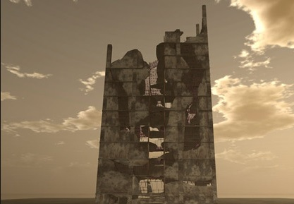 Højhus skyskraber ruin